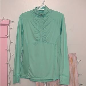 mint green and blue 1/2 zip